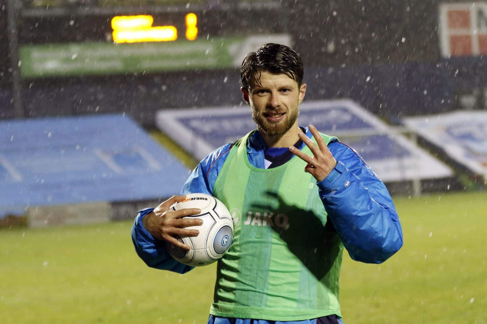 Jason Oswell bags the match ball for his hat trick