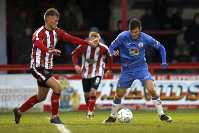 Jake Kirby on the ball, Altrincham 0-1 Stockport County, 15.12.18