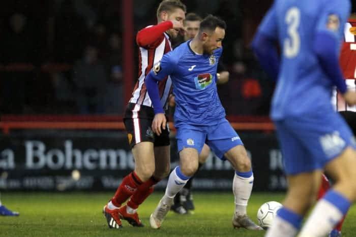 Matty Warburton on the ball, Altrincham 0-1 Stockport County, 15.12.18