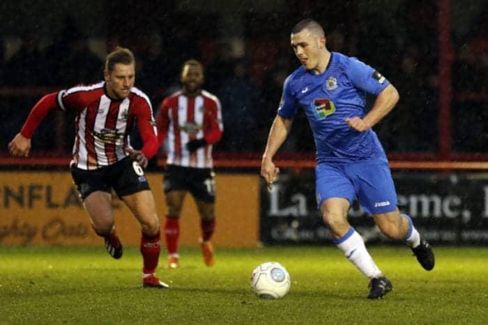 Frank Mulhern on the ball, Altrincham 0-1 Stockport County, 15.12.18