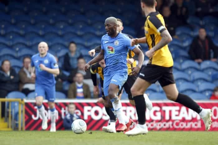 Darren Stephenson on the ball for Stockport