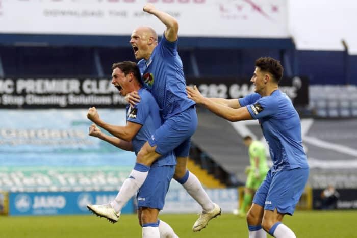 Sam Walker celebrates his winning goal for Stockport County against Spennymoor Town