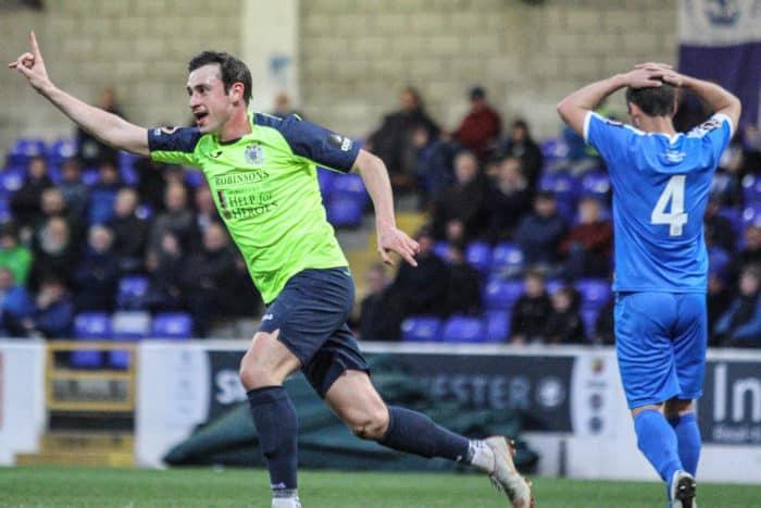 Sam Walker celebrates after scoring against Chester, for Stockport County.