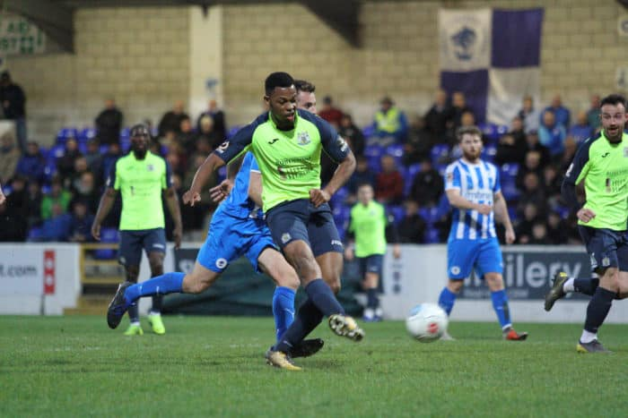 Nyal Bell scores against Chester for Stockport County.
